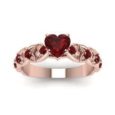 Heart Shaped Ruby Colored Engagement Rings with Red Ruby in 18K Rose Gold exclusively styled by Fascinating Diamonds