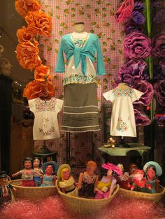 Mexico style.  children's dresses and mommy's blouse from Chiapas, Mexico.  Wooden ships sweater and Neesh skirt