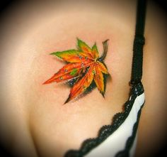 Several leaf tattoo designs including weed leaf tattoos, leaf totems and a colorful falling leaf tattoo on the chest. Great Tattoos, New Tattoos, Awesome Tattoos, Tatoos, Fall Leaves Tattoo, Free Tattoo Designs, Just Ink, Feminine Tattoos, Chest Tattoo