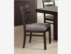 2 PC Contemporary Cappuccino Dining Side Chair Grey Fabric Seat