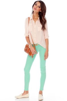 Mint Jeans <3  I <3 this shirt too!