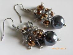 Free shipping, Dark gray pearl earrings ,gray gold crystal earrings $9.99