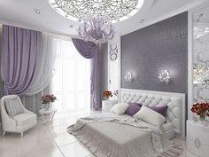 Ideas, Formulas and Shortcuts for Cozy White and Purple Bedroom Decor - decoruntold Purple Bedroom Decor, Bedroom Colors, Home Decor Bedroom, Living Room Decor, Room Ideias, Luxury Bedroom Design, Stylish Bedroom, Suites, Luxurious Bedrooms