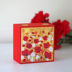 Red Poppy Trinket Box, Small Jewellery Box with Red Flowers £10.00