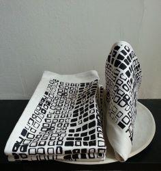 "Host Gift. Hand printed  ""Squares"" Napkin set Blac"