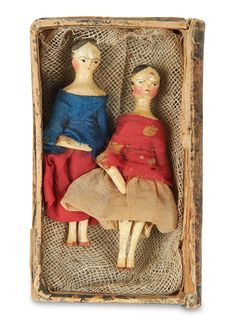 """2.2"""" (6 cm.) Each is all-wooden with one piece head and shapely torso,painted black hair with details of curls and one with sculpted tuck comb,painted facial features,dowel-jointing at shoulders,elbows,hips and knees,painted shoes,(frail) original costumes."""