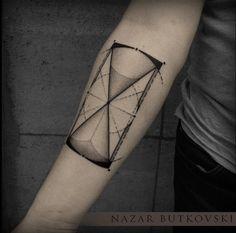Creative hourglass tattoo by Nazar Butkovski