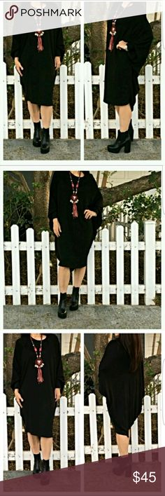 """DOLMAN SLEEVE """"LOOSE FIT"""" DRESS This BLACK DOLMAN SLEEVE """"LOOSE FIT"""" DRESS is very classy.  Please note it is a """"LOOSE Fit"""" dress and it does run a bit large.  You could even order a size down and be just fine.  This dress looks great when paired with a pair of fabulous Knee High Boots, Booties or a Fierce Fabulous pair of Pumps!  96% Polyester, 4% Lyra. Light knit, very soft material like brushed Rayon.  *MADE IN THE U.S.A.*  ***PRICE IS  FIRM UNLESS BUNDLED*** Classic Woman Dresses"""