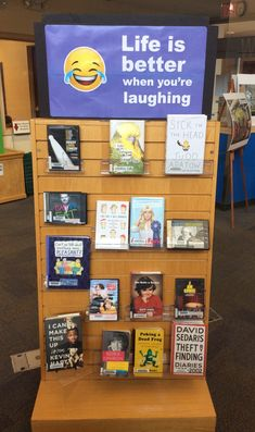 Life IS better when you're laughing - we have funny stuff at the library. School Library Decor, School Library Displays, Middle School Libraries, Teen Library, Class Library, Library Science, Little Library, Elementary Library, Library Inspiration