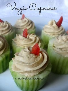 veggie cupcakes....slices of cucumber topped with a yummy cream cheese topping....use the tines of forks to make grooves,,, resembeling a cuppy liner,,,,pipe cream cheese on top...made these for my last years Easter brunch...they were a hit and sooo easy to make,,,