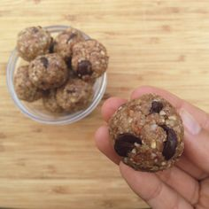 It tastes like eating raw oatmeal cookie dough, but they are healthy! Ingredients: 2/3 cup Raw Almonds, 2/3 cup Raw Oats, 2/3 cup Raw Walnuts. 1/4 cup raw agave nectar, 1 tsp Vanilla Extract, Handful of Cacao Chips.