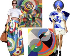 """Clockwise from left: a look from DSquared2's spring/summer 2015 collection; Sonia Delaunay's """"Electric Prisms,"""" 1914; a look from Junya Watanabe's spring/summer 2015 collection; Delaunay's """"Rhythm Colour no. 1076,"""" 1939."""