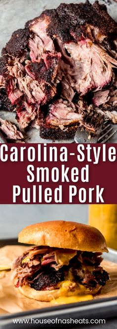 This Carolina-style Smoked Pulled Pork recipe is made with a pork shoulder (aka Boston butt) in a wood smoker or pellet grill using a homemade, easy barbecue spice rub made from pantry ingredients you already have on hand. Smoked low and slow, this recip Smoked Meat Recipes, Pulled Pork Recipes, Barbecue Recipes, Pork Barbecue, Pulled Pork Brine Recipe, Meats To Grill, Meat On The Grill, Pulled Pork Sides Dishes, Best Bbq Recipes