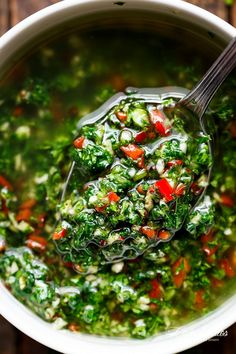 Authentic Chimichurri from Uruguay & Argentina is the best accompaniment to any barbecued or grilled meats! Also used to serve as a dressing on salads!   https://cafedelites.com