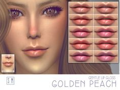 The Sims Resource: Golden Peach  – Gentle Lip Gloss by Screaming Mustard • Sims 4 Downloads