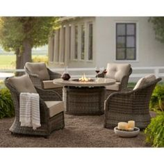 Member's Mark Agio Heritage Balcony-Height Patio Dining Set with Sunbrella Fabric, Dove Gray - Sam's Club Outdoor Fire, Outdoor Seating, Outdoor Living, Fire Pit Chat Set, Fire Pit Table, Patio Dining, Dining Set, Outdoor Furniture Sets, Cane Furniture