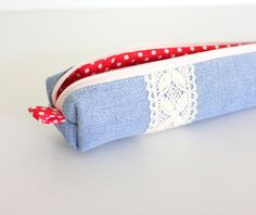 Recycled Jeans Pencil Case Blue and Red Polka Dot by hennyseashell, $12.50