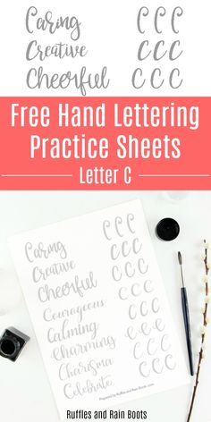 Grab these free letter C brush lettering practice sheets and work on 8 styles. Uppercase letters can trip hand letterers up sometimes, so let's practice together. #handlettering #brushlettering #bouncelettering #lettering #creativelettering #letteringart #rufflesandrainboots via @momtoelise