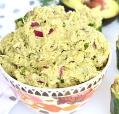 This Avocado Dill Tuna Salad is paleo, whole 30 and packed with flavor! Avocado completely replaces mayo for an all natural healthy fat addition! Easy Potluck Recipes, Cooking Recipes, Healthy Recipes, Paleo Whole 30, Whole 30 Recipes, Clean Eating, Healthy Eating, Tuna Salad, Good Food