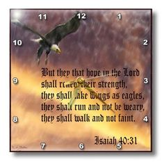 3dRose LLC Isaiah 40-31 Bible Verse with Eagle Against A Troubled Sky 10 by 10-Inch Wall Clock 3dRose http://www.amazon.com/dp/B005HPDL6S/ref=cm_sw_r_pi_dp_xfSuub0AK84B1