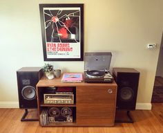 Marantz 6100 turntable, Sansui G-5700 stereo receiver, Tandberg reel to reel and a pair of ADS Loudspeakers.