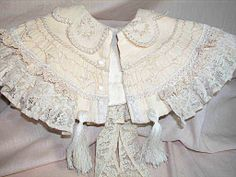 Beautiful Antique Doll Wool & Lace  Cape for Bebe or Baby doll