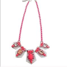 """Luxe Lucite Neon Pink Necklace Brand New from T&J Designs - Material Content is Lucite and Glass Crystals - lead and nickel free - 18"""" length with adjustable chain - I have the bracelet in a separate listing - one of a kind - msrp 82$ - 5 available - accepting reasonable offers T&J Designs Jewelry Necklaces"""