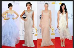 From left, Zooey Deschanel in Reem Acra; Sarah Hyland in Notte by Marchesa; Amanda Peet in Calvin Klein Collection; and Kristen Wiig is in Balenciaga.  Credit: From left: Kevork Djansezian/Getty Images; Matt Sayles/Invision, via Associated Press; Frazer Harrison/Getty Images; Jordan Strauss/Invision, via Associated Press via NYTimes.com #Emmys