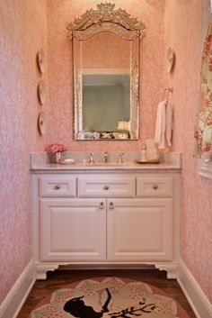 Pink girls bathroom - Venetian mirror, plates on the walls - Leigh Taylor Interiors Little Girl Bathrooms, Baby Bathroom, Fancy Houses, Pretty Bedroom, Bathroom Colors, Beautiful Bathrooms, Pink Vintage Bedroom, Girl Room, My Dream Home