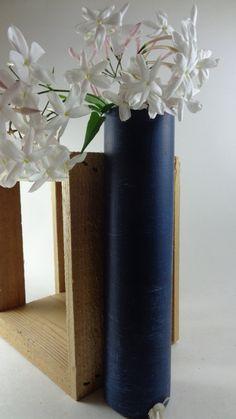 Trendy Indigo Denim Bud Vase - Home Décor, Country, Rustic, Glassware, Cottage Chic