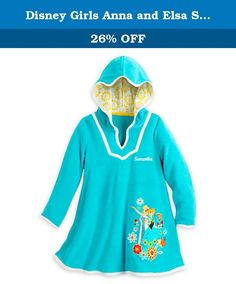 Disney Girls Anna and Elsa Swimwear Cover-Up (5/6). Dry ice. Trips to the beach or pool will be more fun in the company of Anna and Elsa who are together on the front of this Frozen cover-up for girls. The soft terry will help dry her off while providing UVA and UPF protection against harmful rays We do NOT offer Personalization at option at this time Anna and Elsa applique Embroidered flower detailing White piping trim Lined hood with contrast floral print Dolman sleeves Soft terry blend...