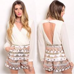 """ONE LEFTIvory & copper sequin Aztec romper Sequined romper features surplice front with triangular open back. Two button back closure and zip back. Side pockets. Small waist is 13"""" across and large waist is 15"""" across. Inseam is 4"""". Small is featured on mannequin with a 36"""" bust and 27"""" waist for fit comparison. Shorts portion don't really have any stretch to them. 100% polyester. Not interested in trades. Pants Jumpsuits & Rompers"""