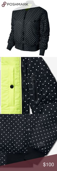 🆕Nike Women's Track and Field Windbomber Jacket The Nike® Women's Track and Field Windbomber Jacket will soar above and beyond your other outerwear. •Windbomber jacket •Allover polka-dot print for style •Reflective details outline the iconic chevron design •Side snap pockets provide secure storage •Rib cuffs and hem keep the jacket in place while you move •Zippered pocket on left sleeve for additional storage •Care Instructions: Machine wash •Fabric: Body: 100% nylon. Lining/fill: 100%…