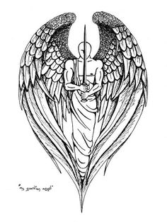 Guardian Angel Tattoo Design...without the sword and a woman instead of a man