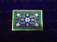 Antique Enamel Pill Box - Silver Minakari Pill Box - 1980 Vintage and Handmade Silver Pill Box - Rectangular Shape Pill Box - Indian Silver Jewellery Storage, Jewelry Box, Unique Jewelry, Handmade Silver, Art Forms, Etsy Shop, Frame, Handmade Gifts, Vintage