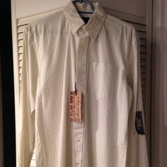 NWT   American Rag Shirt Men's long sleeve, button up shirt  cream color with tiny white and blue stripes. Never worn with tags attached. American Rag Tops Button Down Shirts