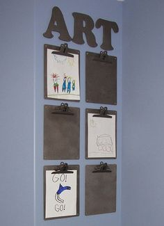 Creative Ways to Display Kid's Artwork. LOVE this clipboard idea.
