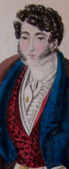 Coupe de cheveux par M. Michalons, Gilet Danaide en velours; Snippet view from Modes parisiennes. Observateur des Modes #172, Nov 1821