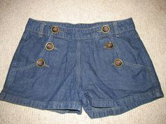 Womens Denim co blue shorts denim with buttons on front and four pockets #womensclothing #rozasebay #ebay
