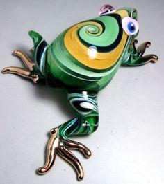 Green FROG handmade blown ART GLASS figurine actual size GIFT cute animal
