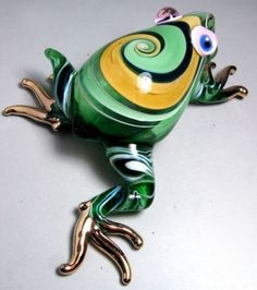 Green FROG handmade blown ART GLASS figurine actual size GIFT cute animal