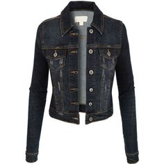 LE3NO Womens Vintage Long Sleeve Denim Jean Jacket ($33) ❤ liked on Polyvore featuring outerwear, jackets, tops, coats & jackets, coats, denim jacket, tailored denim jacket, jean jacket, long sleeve jacket and pocket jacket