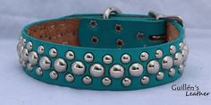 I do believe this will be Ouzo's next collar......Turquoise will be a nice switch from her pink studded collar :)  Leather Dog Collar with Circle Studs by guillensleather