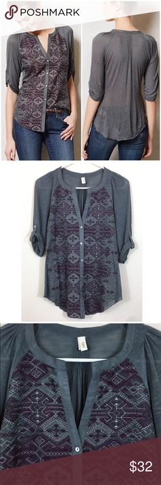 """Anthropologie Thierry Embroidered Buttondown Top • By Tiny • Button front • Silk, cotton, viscose • Machine wash • Underarm to underarm laying flat measures 17"""" unstretched, shoulder to hem measures 25.5"""" • $88 retail, in great condition  • A beautiful top! Anthropologie Tops Blouses"""