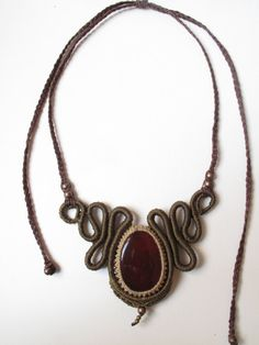 Handmade macrame necklace with carnelian by AbstractikaCrafts, £35.00