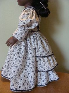 Civil War style dress for 18 inch doll by DollClothesbyEvie