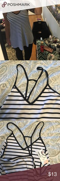 NWT striped tunic Long tank or tunic! BRAND NEW WITH TAGS! !black and white striped! Tops Tunics