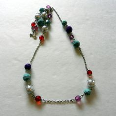 Colorful Beaded Necklace with Silver Chain