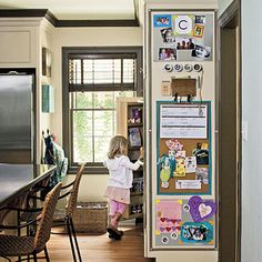 Perfect place to display kids' art....rather than the front of the fridge