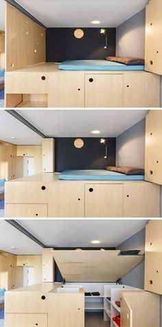 This lofted bed makes it possible to add extra storage to the apartment, but with this design, they are able to lift it up to reveal a small walk-in wardrobe underneath. Micro Apartment, Tiny Apartments, Tiny Spaces, Apartment Design, Small Space Living, Tiny Living, Living Spaces, Living Room, Folding Walls